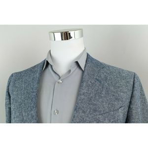 Stafford Blue Linen Cotton Sport Coat Blazer 42R